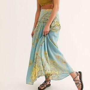 FREE PEOPLE Blue Yellow Paisley Farrah Skirt